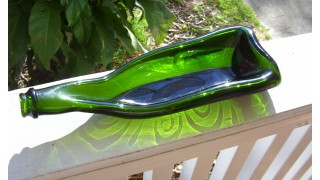Slumped Green Wine Bottle Dish (SOLD)