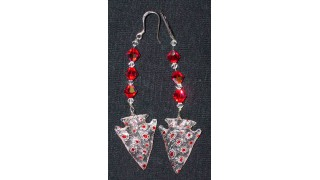 Red & White Flower Arrowhead Earrings