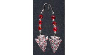 Red & White Flower Arrowhead Earrings
