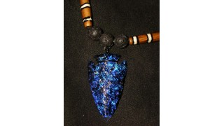Blue Dichroic Glass Arrowhead Necklace SOLD