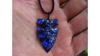 Cobalt Blue Dichroic Glass Arrowhead Necklace SOLD