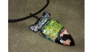 Dichroic Glass Arrowhead Necklace (SOLD)