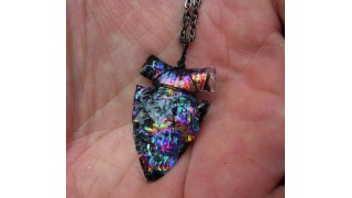 Rainbow Dichroic Glass Arrowhead Necklace SOLD